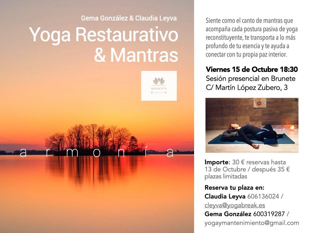 Evento presencial de Yoga Restaurativo y Mantras en Brunete